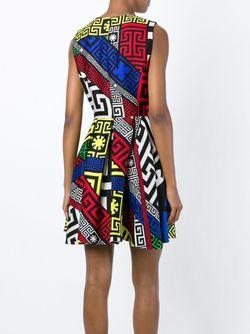 Платье С Узором Versace                                                                                                              синий цвет