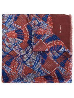Шарф С Краями С Бахромой И Абстрактным Kiton                                                                                                              синий цвет
