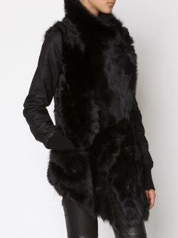 Куртка С Контрастными Кожаными Рукавами Giorgio Brato                                                                                                              чёрный цвет