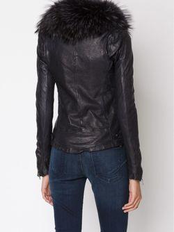 Байкерская Куртка С Меховым Воротником Giorgio Brato                                                                                                              чёрный цвет