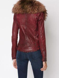Байкерская Куртка С Меховым Воротником Giorgio Brato                                                                                                              красный цвет