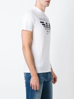 Футболка С Принтом Логотипа ARMANI JEANS                                                                                                              белый цвет