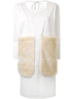 Платье-Футболка С Меховыми Накладными Карманами MIHARA YASUHIRO                                                                                                              белый цвет