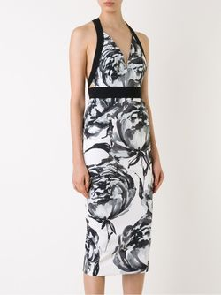 Приталенное Платье С Цветочным Принтом SCANLAN THEODORE                                                                                                              черный цвет