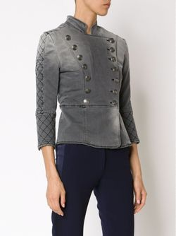 Джинсовая Куртка В Стиле Милитари Pierre Balmain                                                                                                              серый цвет