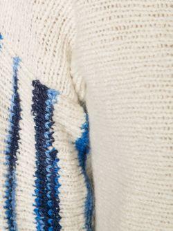 Укороченный Свитер С Рукавами В Полоску The Elder Statesman                                                                                                              белый цвет