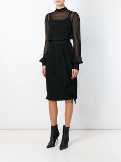 Прозрачная Блузка С Кружевной Отделкой Ermanno Scervino                                                                                                              чёрный цвет