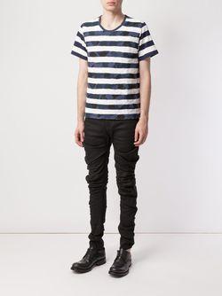 Patchwork Stripe T-Shirt ANREALAGE                                                                                                              синий цвет