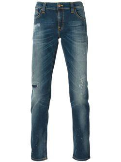 Выбеленные Джинсы С Потертой Отделкой Nudie Jeans Co                                                                                                              синий цвет