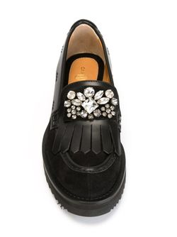 Embellished Fringed Loafers Carshoe                                                                                                              чёрный цвет