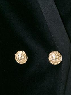 Приталенный Бархатный Блейзер Balmain                                                                                                              черный цвет