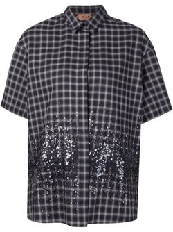 Рубашка В Клетку С Пайетками No21                                                                                                              серый цвет