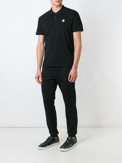 Футболка-Поло С Логотипом Moncler                                                                                                              черный цвет