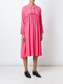 Платье-Рубашка Со Сборками Comme Des Garcons                                                                                                              розовый цвет
