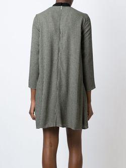 Расклешенное Платье В Ломаную Клетку Maison Kitsune                                                                                                              чёрный цвет