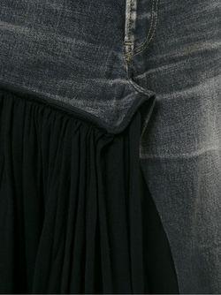 Джинсовая Юбка С Плиссированной Панелью YOHJI YAMAMOTO VINTAGE                                                                                                              черный цвет