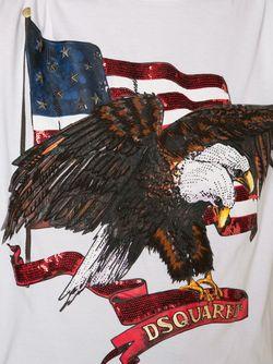 Футболка С Принтом Американского Флага Dsquared2                                                                                                              белый цвет