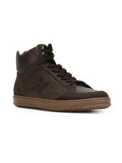 Hi-Top Lace-Up Sneakers Hogan                                                                                                              коричневый цвет