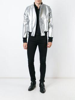 Стилизованная Байкерская Куртка Saint Laurent                                                                                                              серебристый цвет