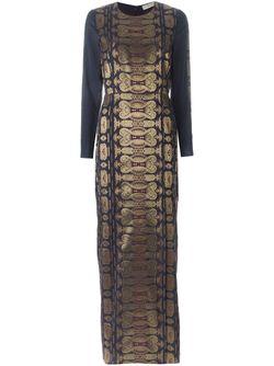 Длинное Жаккардовое Платье Tory Burch                                                                                                              синий цвет