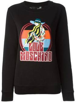 Multicoloured Print Sweatshirt Love Moschino                                                                                                              черный цвет