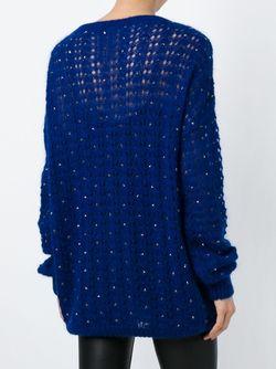 Декорированный Трикотажный Свитер Saint Laurent                                                                                                              синий цвет