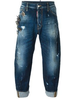 Декорированные Джинсы Bid Deans Brother Dsquared2                                                                                                              синий цвет