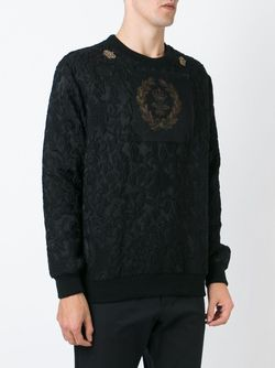 Bee And Crown Embroidered Patch Sweatshirt Dolce & Gabbana                                                                                                              чёрный цвет