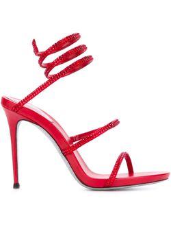 Декорированные Босоножки С Ремешками Rene' Caovilla                                                                                                              красный цвет