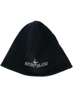 Шапка С Вышитым Логотипом Stone Island                                                                                                              черный цвет