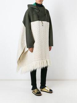 Объемное Пончо С Капюшоном Sacai                                                                                                              белый цвет