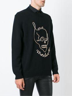 Свитер С Принтом-Логотипом С Черепом Love Moschino                                                                                                              чёрный цвет