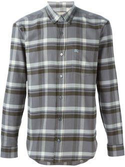 Рубашка В Клетку С Воротником На Пуговицах Burberry Brit                                                                                                              серый цвет