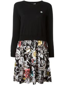 Платье-Свитер С Принтом На Юбке Love Moschino                                                                                                              черный цвет