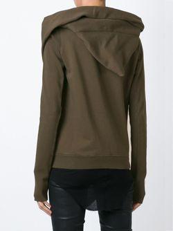Асимметричная Толстовка На Молнии С Капюшоном RICK OWENS DRKSHDW                                                                                                              коричневый цвет