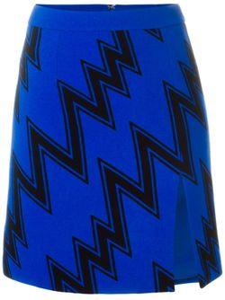 Мини-Юбка С Зигзагообразным Принтом Christopher Kane                                                                                                              синий цвет