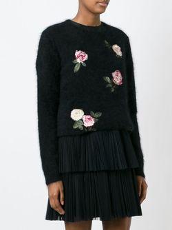 Свитер С Вышивкой Роз No21                                                                                                              чёрный цвет