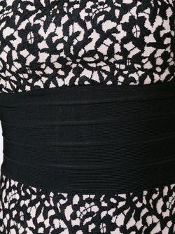 Вечернее Жаккардовое Платье Без Бретелек Hervé Léger                                                                                                              чёрный цвет