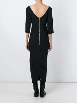 Приталенное Платье С Вырезом-Лодочкой Rick Owens                                                                                                              черный цвет