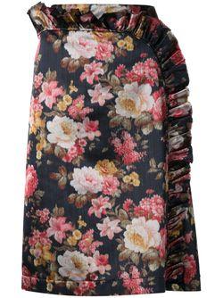 Юбка С Оборкой И Цветочным Принтом Simone Rocha                                                                                                              чёрный цвет