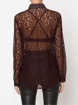 Кружевная Рубашка С Клетчатым Воротником Carven                                                                                                              коричневый цвет