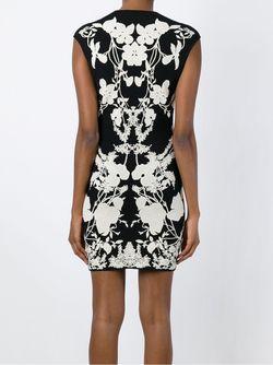 Мини-Платье С Цветочным Принтом Alexander McQueen                                                                                                              черный цвет