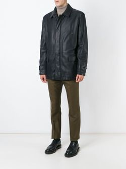 Классическая Кожаная Куртка Brioni                                                                                                              коричневый цвет