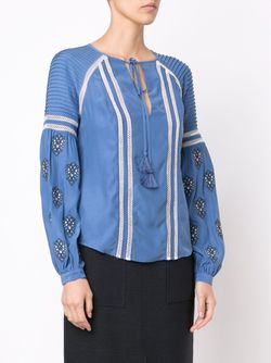 Embroidered Tunic Blouse Veronica Beard                                                                                                              синий цвет