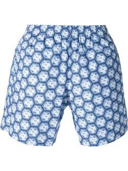 Плавательные Шорты С Узором Пчелиных Сот Alexander McQueen                                                                                                              синий цвет