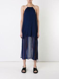Шелковое Платье Без Рукавов KITX                                                                                                              синий цвет