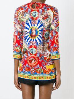 Блузка С Комбинированным Принтом Dolce & Gabbana                                                                                                              None цвет