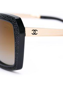 Солнцезащитные Очки Из Кожи Ската Chanel Vintage                                                                                                              чёрный цвет