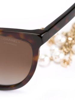 Солнцезащитные Очки Pearl Chanel Vintage                                                                                                              коричневый цвет