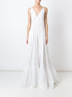 Flared Embroidered Maxi Dress Roberto Cavalli                                                                                                              белый цвет